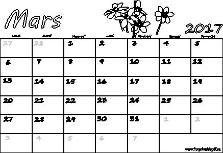 Mars 2017 Calendrier Vierge Feries Gratuit Pdf Imprimable