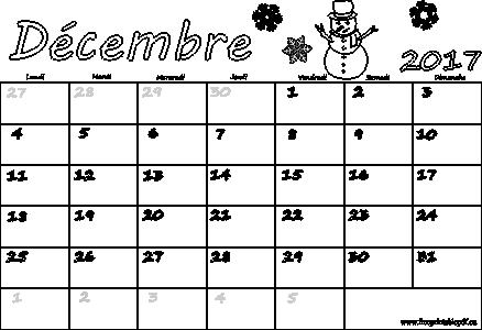 décembre 2017 calendrier à imprimer pour les enfants