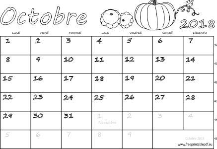 calendrier mensuel imprimer octobre 2018 gratuit pdf imprimable. Black Bedroom Furniture Sets. Home Design Ideas