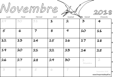 calendrier mensuel imprimer novembre 2018 gratuit pdf imprimable. Black Bedroom Furniture Sets. Home Design Ideas