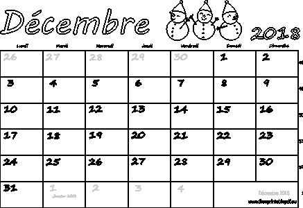 Calendrier Mensuel à Imprimer Décembre 2018 Gratuit Pdf