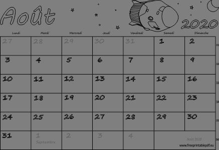 Calendrier mensuel à imprimer août 2020 | Gratuit PDF imprimable