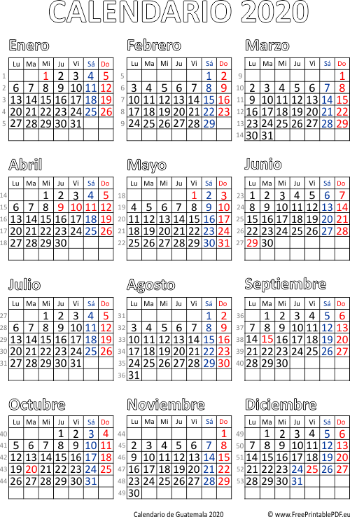 Calendario De Guatemala 2020 Imprimir El Pdf Gratis