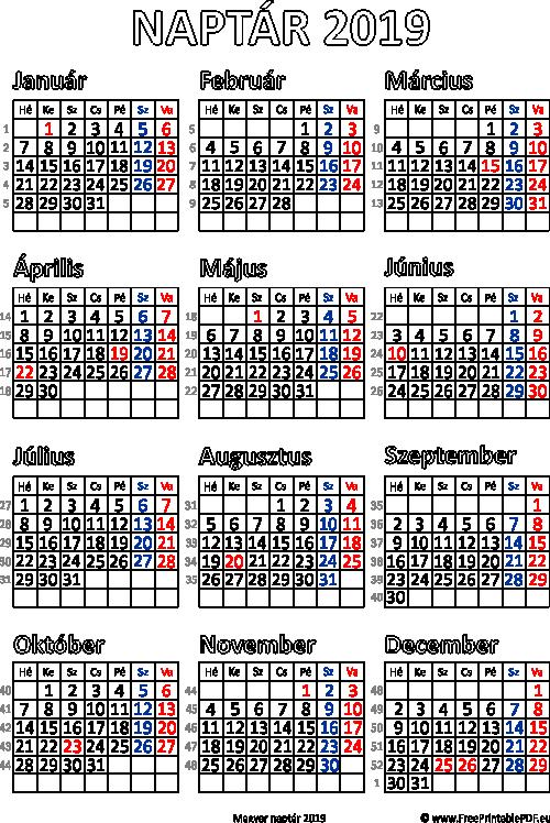 2019 as naptár letöltése Ingyenes naptár nyomtatás 2019 | Szabad fájlok PDF nyomtatás 2019 as naptár letöltése