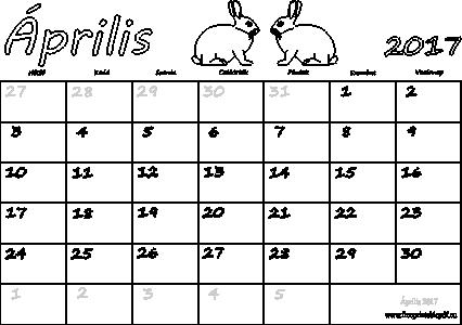 április naptár Naptár Április 2017 nyomtatható | Szabad fájlok PDF nyomtatás április naptár