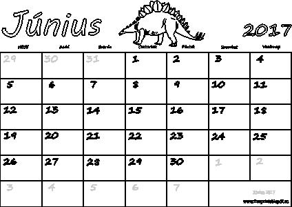 június naptár Naptár Június 2017 nyomtatható   Szabad fájlok PDF nyomtatás június naptár