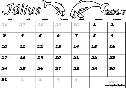 letöltés naptár Naptár Július 2017 nyomtatható | Szabad fájlok PDF nyomtatás letöltés naptár