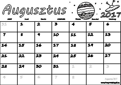 nyomtatható naptár Naptár Augusztus 2017 nyomtatható | Szabad fájlok PDF nyomtatás nyomtatható naptár