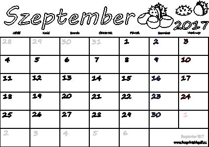 letöltés naptár Naptár Szeptember 2017 nyomtatható | Szabad fájlok PDF nyomtatás letöltés naptár