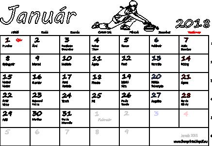 naptár névnapokkal Naptár Január 2018 nyomtatható | Szabad fájlok PDF nyomtatás naptár névnapokkal
