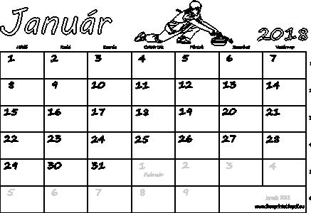 nyomtatható naptár Naptár Január 2018 nyomtatható | Szabad fájlok PDF nyomtatás nyomtatható naptár