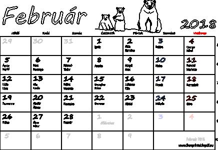 naptár névnapok 2018 Naptári Hónap Február   MuzicaDL naptár névnapok
