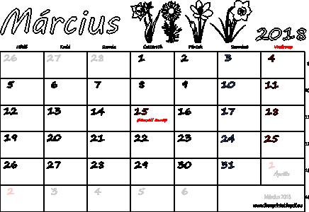 március naptár Naptár Március 2018 nyomtatható | Szabad fájlok PDF nyomtatás március naptár