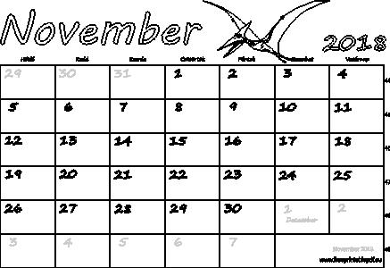 november naptár Naptár November 2018 nyomtatható | Szabad fájlok PDF nyomtatás november naptár