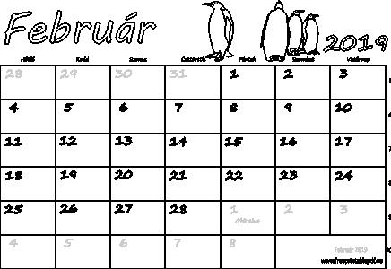 naptár 2019 február Naptár Február 2019 nyomtatható | Szabad fájlok PDF nyomtatás naptár 2019 február