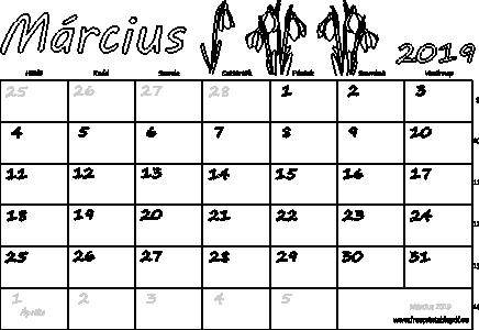 2019 nyomtatható naptár Naptár Március 2019 nyomtatható | Szabad fájlok PDF nyomtatás 2019 nyomtatható naptár