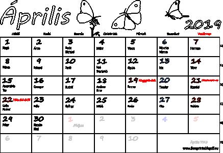 naptár névnapokkal 2019 Naptár Április 2019 nyomtatható | Szabad fájlok PDF nyomtatás naptár névnapokkal 2019