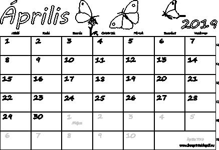 2019 áprilisi naptár Naptár Április 2019 nyomtatható | Szabad fájlok PDF nyomtatás 2019 áprilisi naptár