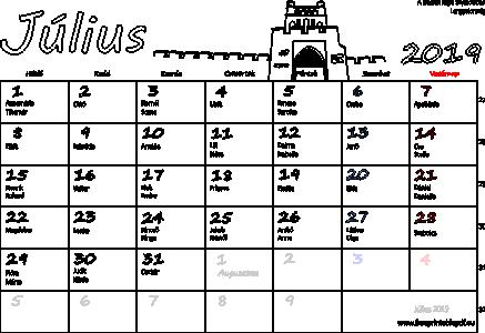 2019 július havi naptár Naptár Július 2019 nyomtatható | Szabad fájlok PDF nyomtatás 2019 július havi naptár