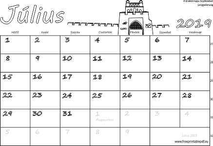 2019 nyomtatható naptár Naptár Július 2019 nyomtatható | Szabad fájlok PDF nyomtatás 2019 nyomtatható naptár
