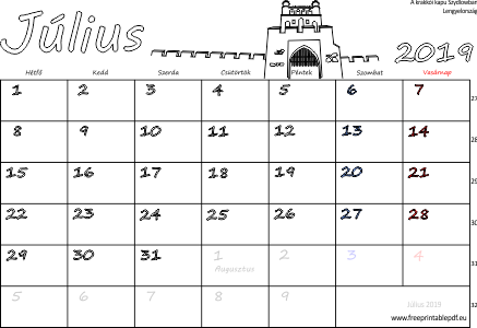 naptár 2019 július Naptár Július 2019 nyomtatható | Szabad fájlok PDF nyomtatás naptár 2019 július