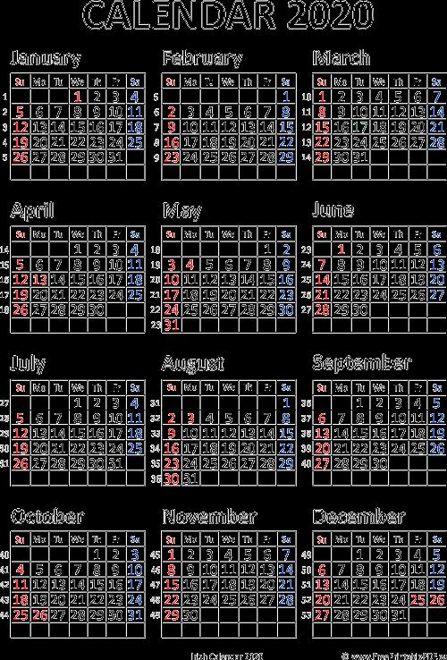 Ireland Calendar 2020 Calendar 2020 Ireland printable pdf | Free Printable PDF