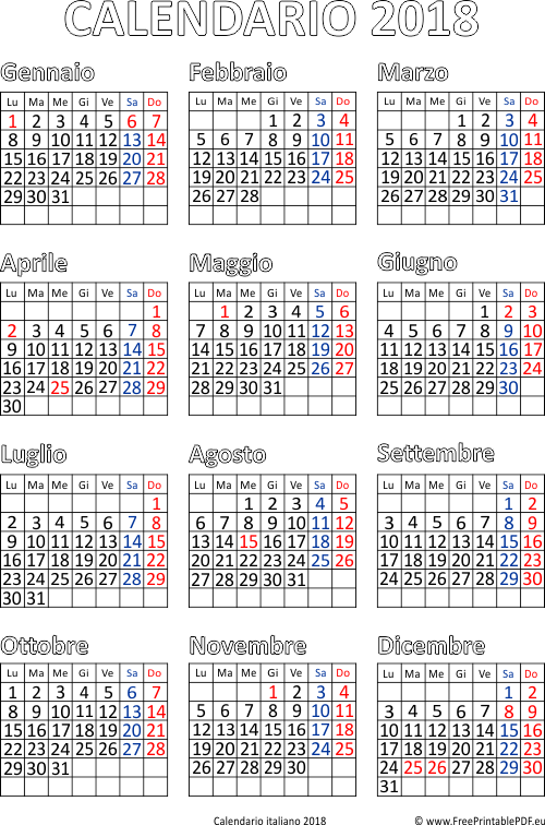 Molto Calendario 2018 stampabile pdf | PDF Liberi di Stampa YO88
