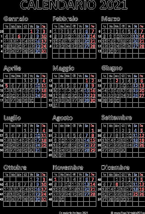 Calendario 2021 Italia stampabile pdf | PDF Liberi di Stampa