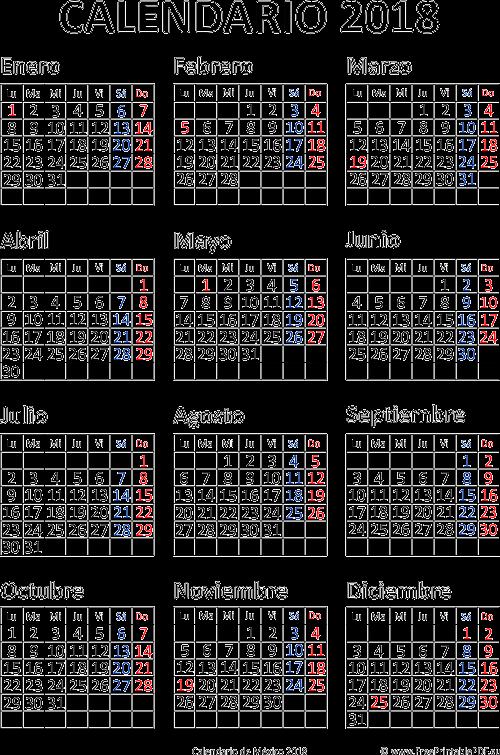 calendario de m u00e9xico 2018