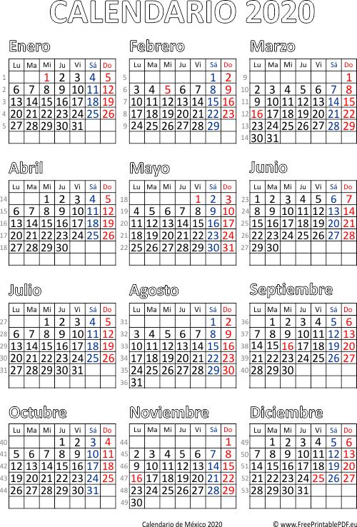 Calendario 2020 Mexico Con Dias Festivos Para Imprimir.Calendario De Mexico 2020 Imprimir El Pdf Gratis