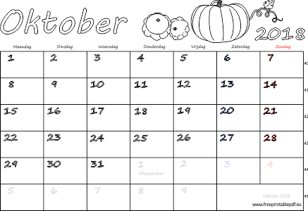 Download kalender voor oktober 2018 gratis