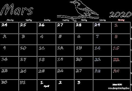 Kalender 2020 ukenummer