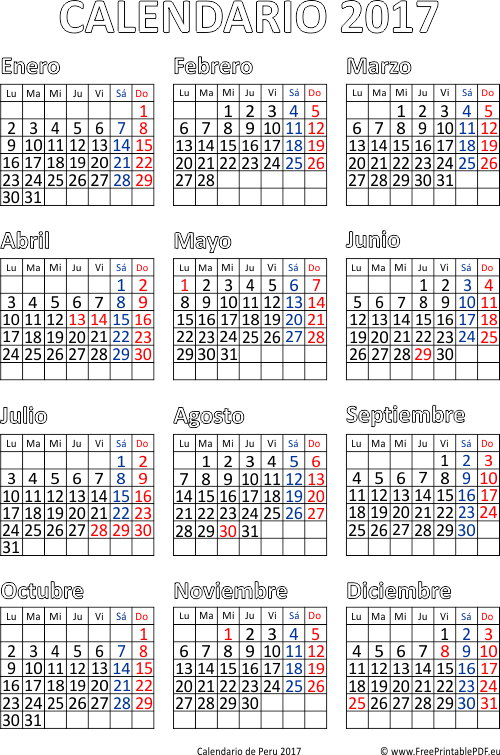 Calendario de per 2017 imprimir el pdf gratis for Horario peru wellness