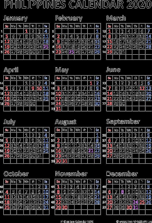 Free Printable 2020 Calendar With Holidays.Calendar 2020 Philipines Free Printable Pdf