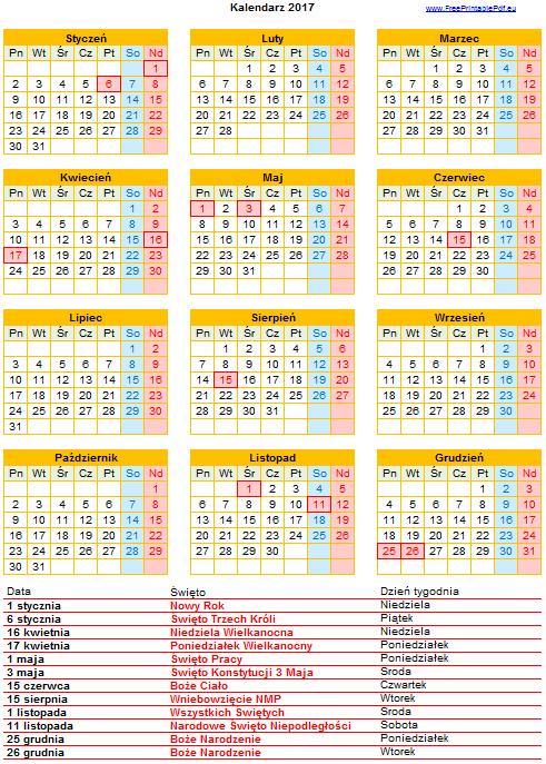 Znalezione obrazy dla zapytania kalendarz 2017