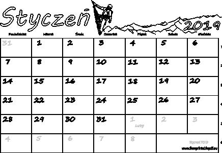 Kalendarz Na Styczeń 2019 Darmowe Pdf Do Druku