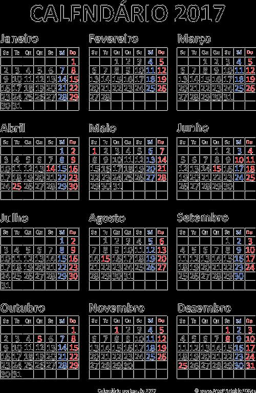 Calendario 2017 Impressao Pdf Para Impressao Livre
