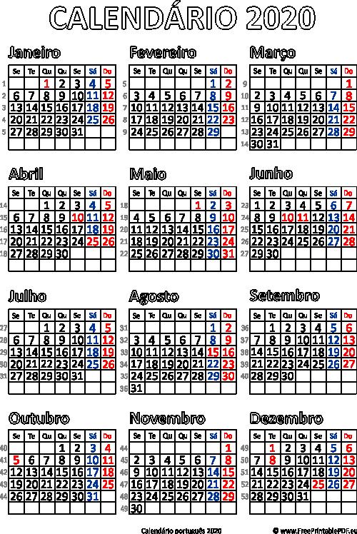 Calendario 2020 Com Feriados.Calendario 2020 Portugal Para Impressao Pdf Para Impressao