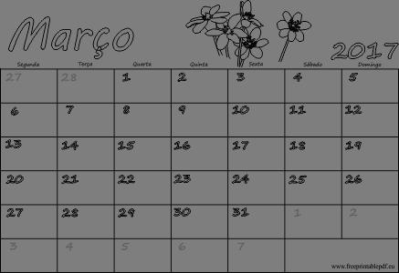 """Resultado de imagem para calendario de """"março 2017"""""""