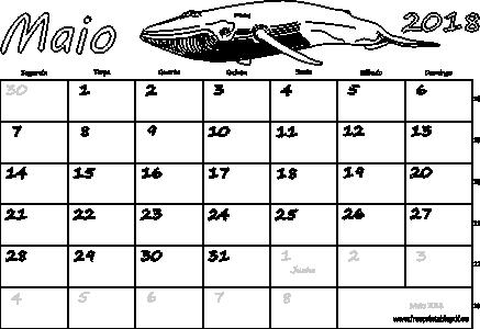 maio 2018 vazia branco