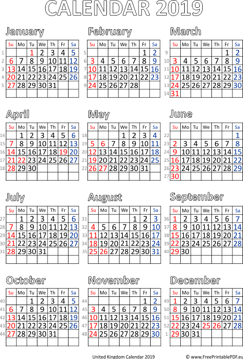 Free Printable 2019 Calendar With Uk Holidays.Calendar 2019 Printable Uk Free Printable Pdf