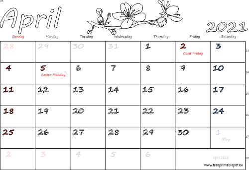 April 2021 United Kingdom Calendar Free Printable Pdf