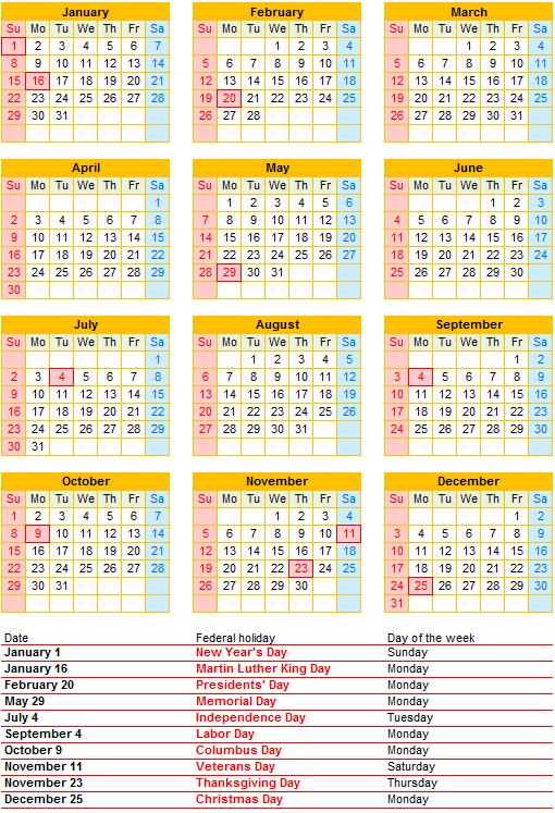 Printable Calendar 2017 for US (PDF) | Free Printable PDF