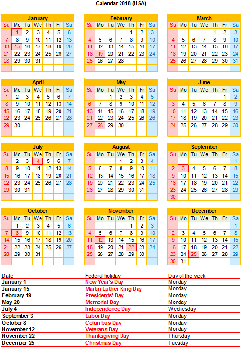 graphic about Free Printable Calendar With Us Holidays titled Free of charge 2018 Excel Calendar with US holiday seasons Cost-free Printable PDF