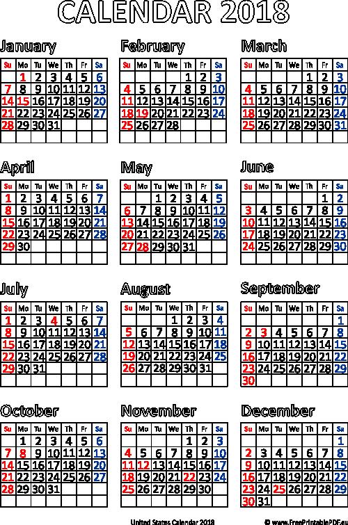 usa 2018 calendar pdf