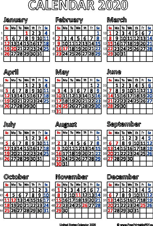 Calendar Usa 2020 Printable Calendar 2020 USA | Free Printable PDF