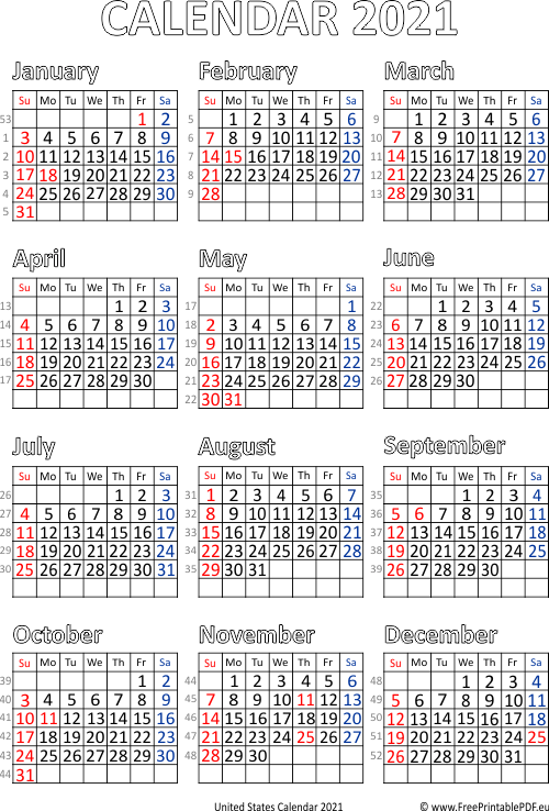 Calendar 2021 United States | Free Printable PDF