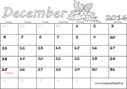 picture regarding December Calendar Printable With Holidays named December 2016 calendar blank printable Cost-free Printable PDF