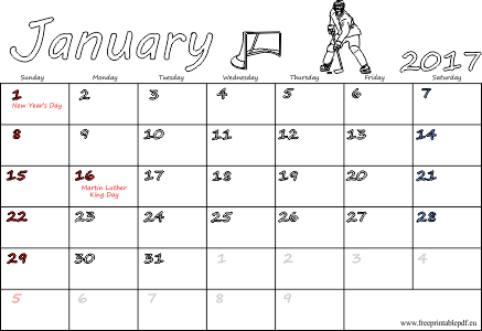 US & UK January 2017 calendars printable | Free Printable PDF