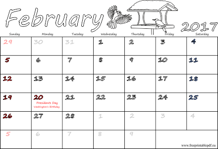 February 2017 US holidays